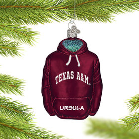 Personalized Texas A&M University Hoodie Sweatshirt Christmas Ornament