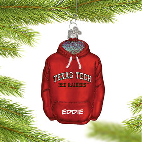 Personalized Texas Tech University Hoodie Sweatshirt Christmas Ornament