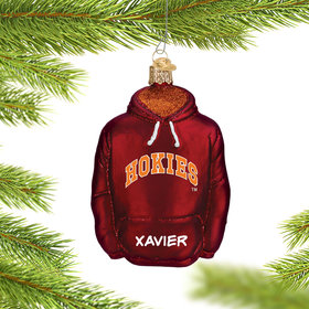 Personalized Virginia Tech University Hoodie Sweatshirt Christmas Ornament