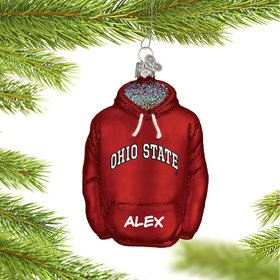 Personalized Ohio State University Hoodie Sweatshirt Christmas Ornament