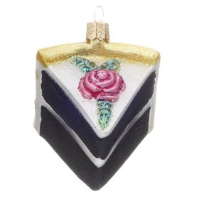 Personalized Piece of Cake (Chocolate Cake with White Frosting) Christmas Ornament