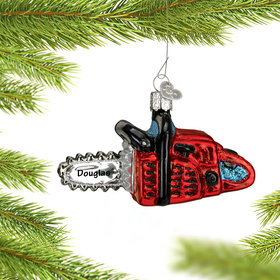Personalized Red Chain Saw Christmas Ornament