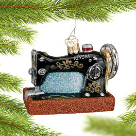 Personalized Glass Sewing Machine Christmas Ornament