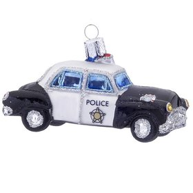 Personalized Glass Police Car Christmas Ornament