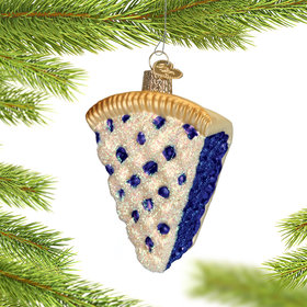 Personalized Slice of Blueberry Pie Christmas Ornament