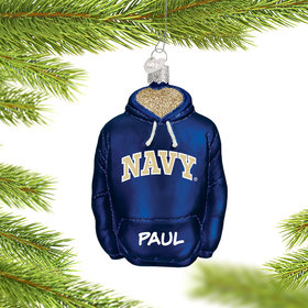 Personalized Navy Hoodie Sweatshirt Christmas Ornament
