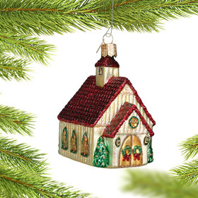 Christmas Chapel Glass Christmas Ornament