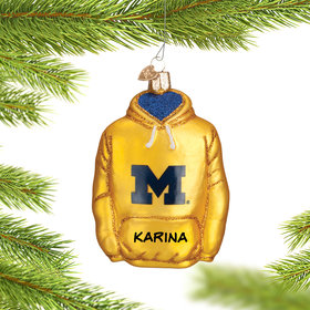 Personalized University of Michigan Hoodie Sweatshirt Christmas Ornament