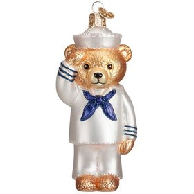 Personalized Navy Bear Christmas Ornament
