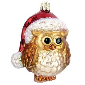 Santa Owl Christmas Ornament