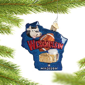 State of Wisconsin Outline Christmas Ornament