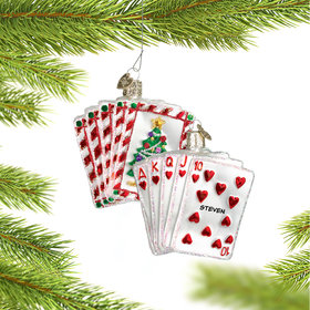 Personalized Royal Flush Poker Hand Christmas Ornament