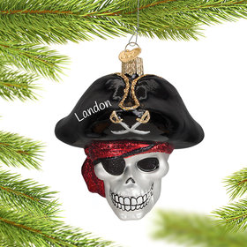 Personalized Jolly Roger Pirate Skull Christmas Ornament