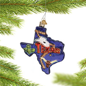 Personalized State of Texas Outline Christmas Ornament