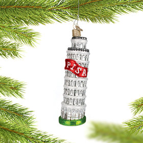 Leaning Tower of Pisa with Red Banner Christmas Ornament