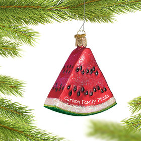 Personalized Watermelon Wedge Christmas Ornament