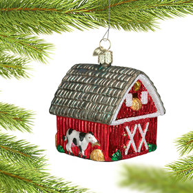 Personalized Red Barn with Loft Christmas Ornament
