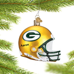 Personalized Green Bay Packers NFL Helmet Christmas Ornament