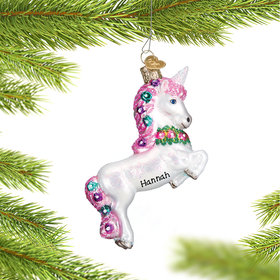 Personalized Prancing Unicorn Christmas Ornament