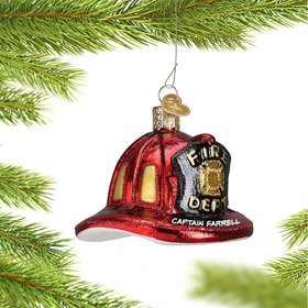 Personalized Fireman's Helmet Christmas Ornament