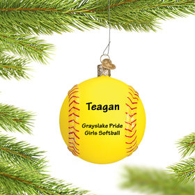 Personalized Yellow Softball Christmas Ornament