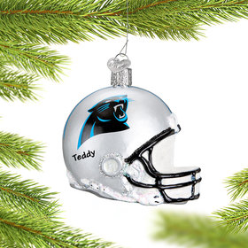 Personalized Carolina Panthers NFL Helmet Christmas Ornament