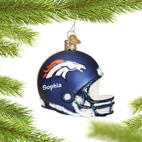 Personalized Denver Broncos NFL Helmet Christmas Ornament