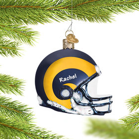 Personalized Los Angeles Rams NFL Helmet Christmas Ornament