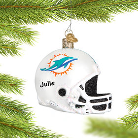 Personalized Miami Dolphins NFL Helmet Christmas Ornament