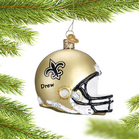 Personalized New Orleans Saints NFL Helmet Christmas Ornament