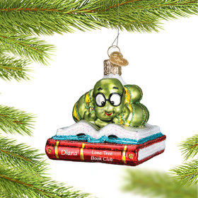 Personalized Bookworm Christmas Ornament