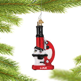 Personalized Microscope Christmas Ornament