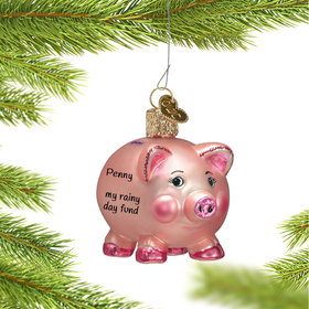 Personalized Piggy Bank Christmas Ornament