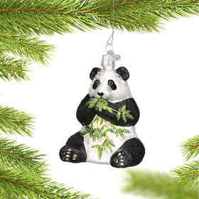 Personalized Panda with Bamboo Christmas Ornament