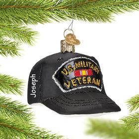 Personalized Veteran's Cap Christmas Ornament