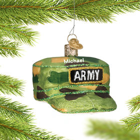 Personalized Army Camo Hat Christmas Ornament