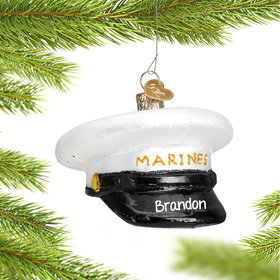 Personalized Marines Cap Christmas Ornament