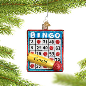 Personalized Bingo Card with Marker Christmas Ornament