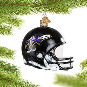 Personalized Baltimore Ravens NFL Helmet Christmas Ornament