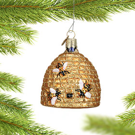 Personalized Bee Skep Christmas Ornament