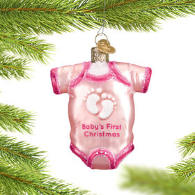 Personalized Pink Baby Onesie Christmas Ornament