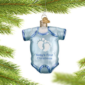 Personalized Blue Baby Onesie Christmas Ornament