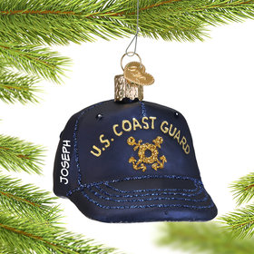 Personalized Coast Guard Cap Christmas Ornament