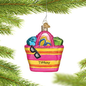 Personalized Beach Bag Christmas Ornament
