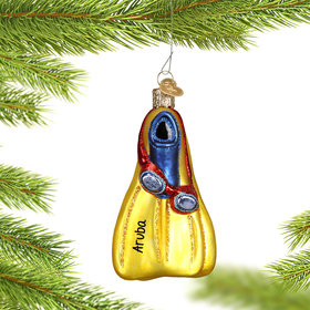 Personalized Swim Flippers Christmas Ornament