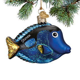Personalized Pacific Blue Tang Christmas Ornament
