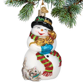 Snowman with Playful Pets Christmas Ornament