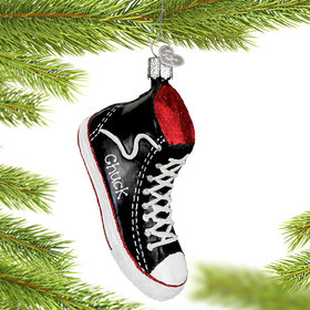 Personalized Black High-top Sneaker Christmas Ornament