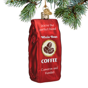 Personalized Bag of Coffee Beans Christmas Ornament