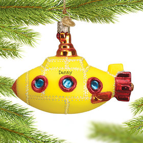 Personalized Groovy Submarine Christmas Ornament